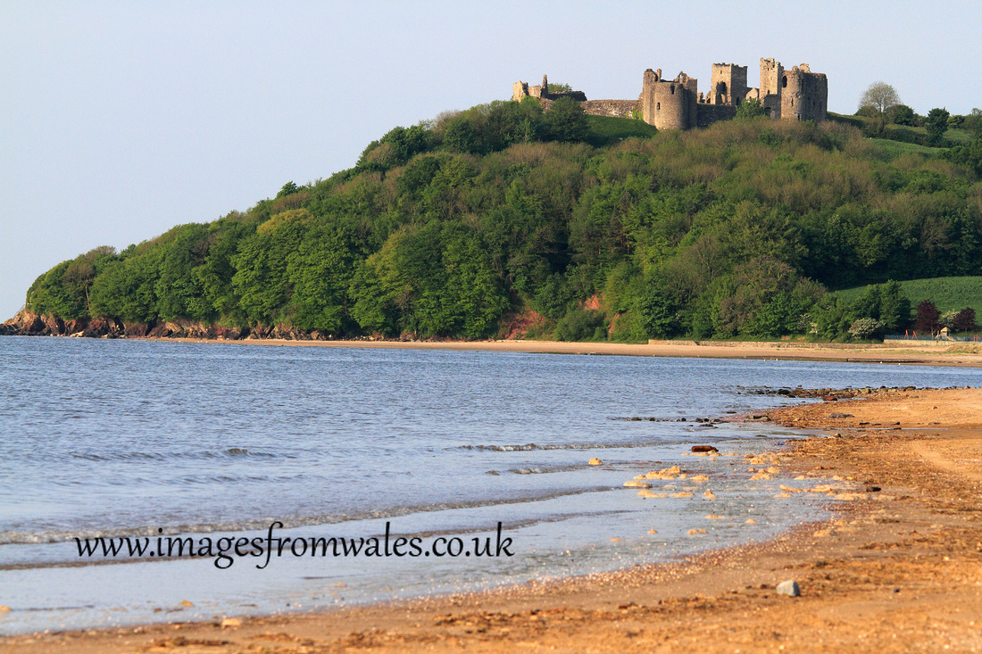 Llansteffan Castle standing above the river Towy